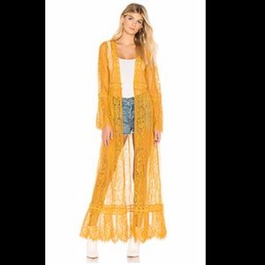 Mustard yellow lace bell sleeve duster. Kimono.